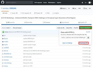 "An image of the ESRGAN repo on Github, with the ""Clone or download"" dropdown button highlighted as well as the ""Download ZIP"" link"