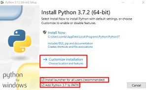 "The ""Install Python"" screen from the python installer. All checkboxes are checked. The checkboxes and the ""Customize installation"" button are highlighted."